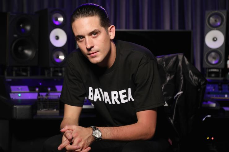 G-Eazy prepares for his upcoming Bud Light Dive Bar Tour performance in New Orleans during a production shoot in LA on July 25, 2017