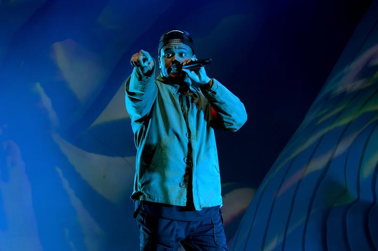 The Weeknd performs onstage during the 2018 Coachella Valley Music And Arts Festival at the Empire Polo Field on April 13, 2018 in Indio, California