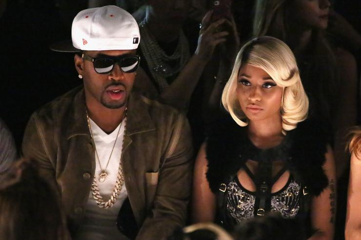 Safaree Samuels (L) and Nicki Minaj attend the Herve Leger By Max Azria fashion show during Mercedes-Benz Fashion Week Spring 2014 at The Theatre at Lincoln Center on September 7, 2013 in New York City